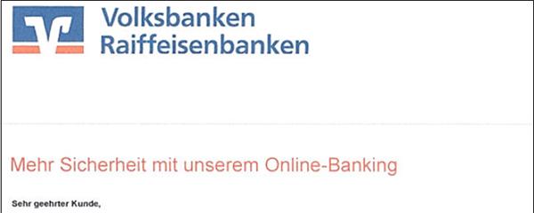 """Beispiel einer Phishing-Mail mit dem Betreff """"Mehr Sicherheit mit unserem Online-Banking"""""""